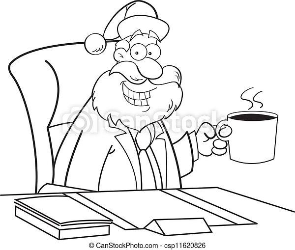 Santa Drinking Coffee Cartoon Santa Claus Drinking