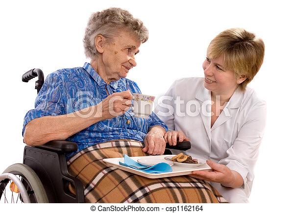 elderly woman in wheelchair - csp1162164