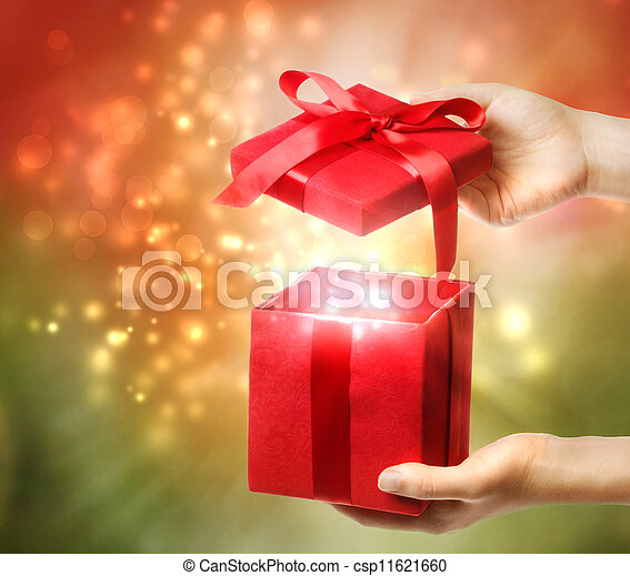 Red Holiday Gift Box  - csp11621660