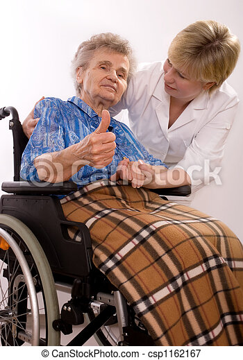 elderly woman in wheelchair - csp1162167