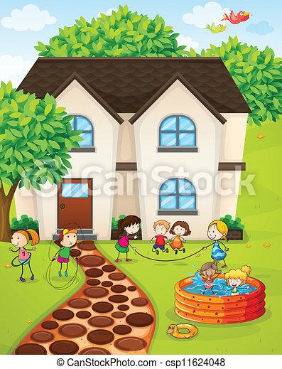 Eps vector de casa ni os ilustraci n de un casa y - Juegos con ninos en casa ...