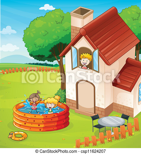 Vector clipart of a house and kids illustration of a for My dream house drawing