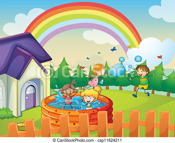 Kids House Drawing Vector a House And Kids