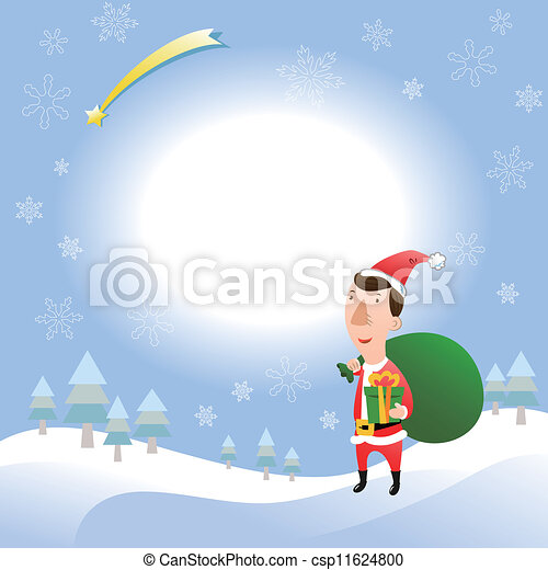 Christmas card with young adult - csp11624800