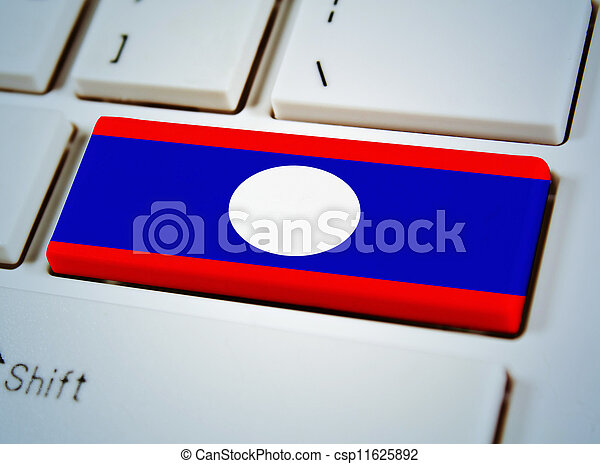Association of Southeast Asian Nations Flag on keyboard button, Laos - csp11625892