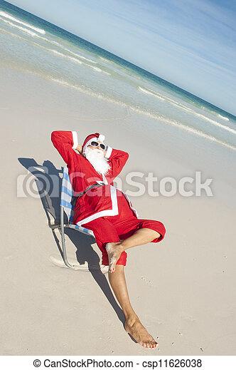 Christmas Holiday Beach Santa Claus - csp11626038