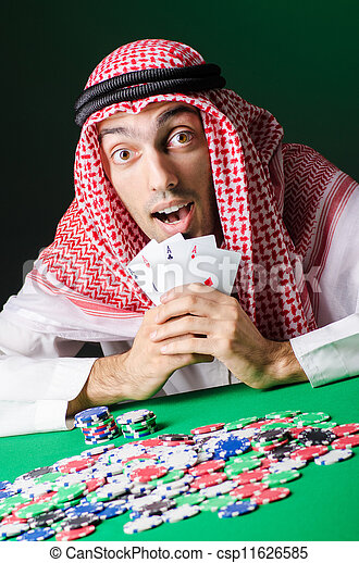 Arab playing in casino - gambling concept with man - csp11626585