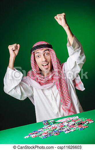 Arab playing in casino - gambling concept with man - csp11626603