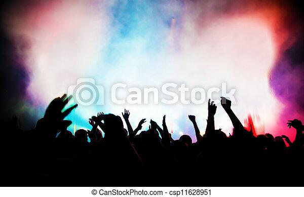 黨。, 音樂會, disco音樂, 人們 - csp11628951