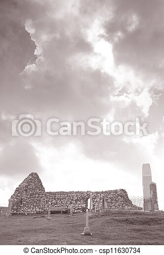 The Famous Landmark of Trumpan Church, Isle of Skye; Scotland; UK in Black and White Sepia Tone - csp11630734