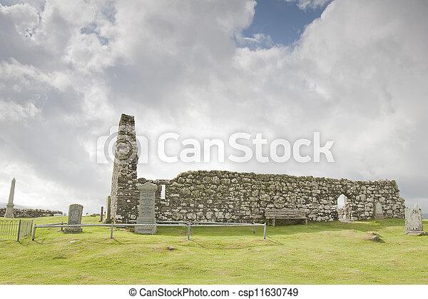 Famous Landmark of Trumpan Church, Isle of Skye; Scotland; UK - csp11630749