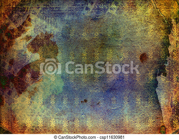 Grunge ancient used paper in scrapbooking style - csp11630981
