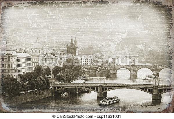Prague, view of the Vltava River and bridges - csp11631031