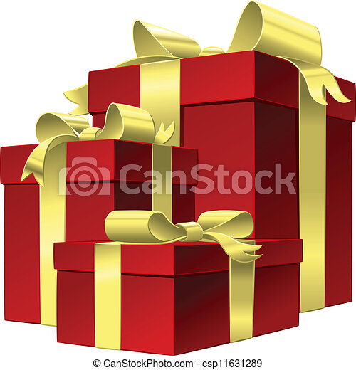 Vector set red gift box with gold ribbon bow - csp11631289