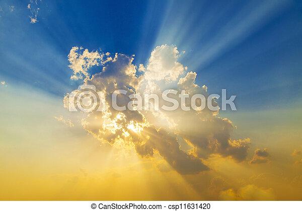 Sunset with sun rays  - csp11631420