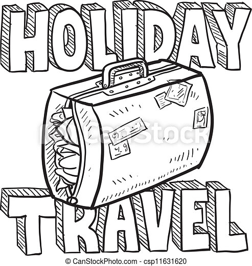 Vector Illustration Of Holiday Travel Vector Sketch