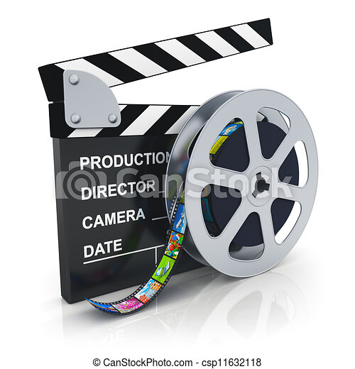Clipart of Clapper board and reel with filmstrip - Cinema, movie, film ...