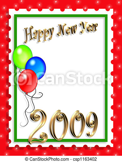 Clip Art of New Years card - Illustration for New Years Eve ...