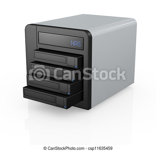 Stock illustrations of nas with four disks one nas Storage bay