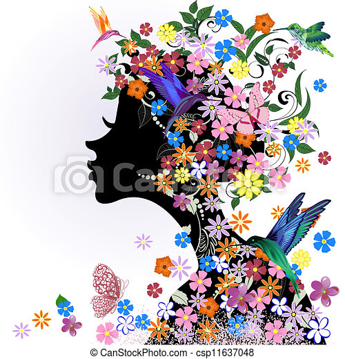 EPS Vector of Floral hairstyle, girl and butterfly bird ...