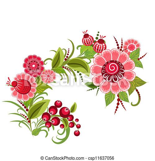 Floral design style Khokhloma - csp11637056