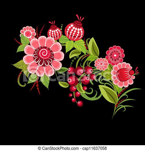 Floral design style Khokhloma - csp11637058