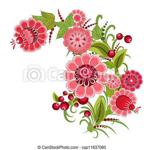 Floral design style Khokhloma - csp11637060