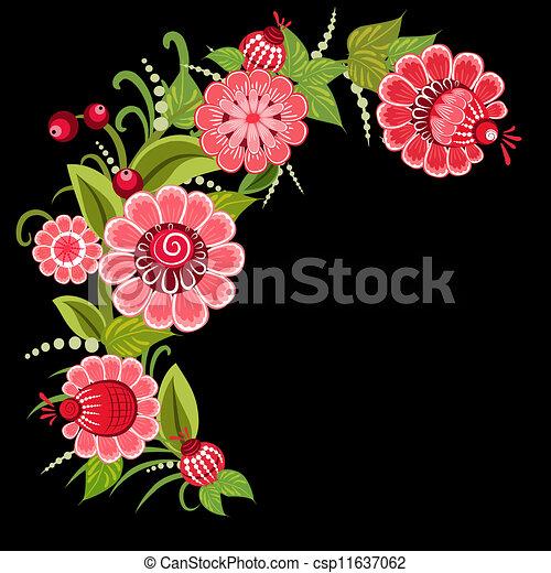 Floral design style Khokhloma - csp11637062