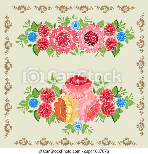 Floral design style Khokhloma - csp11637076