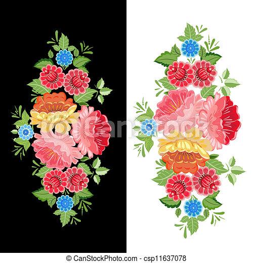 Floral design style Khokhloma - csp11637078