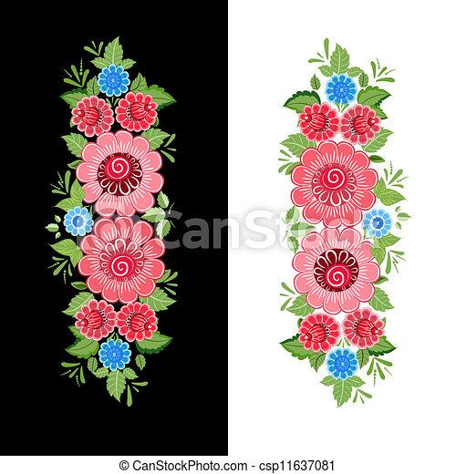 Floral design style Khokhloma - csp11637081