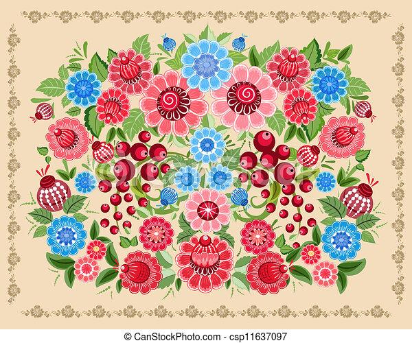 Floral design style Khokhloma - csp11637097