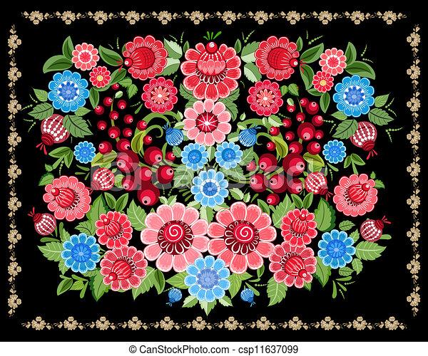 Floral design style Khokhloma - csp11637099