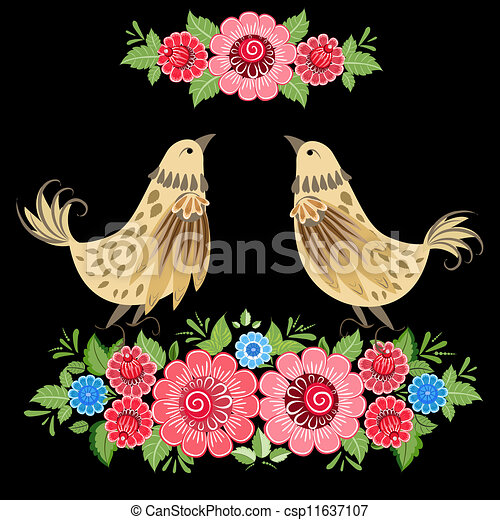 Decorative bird in flowers Khokhloma - csp11637107
