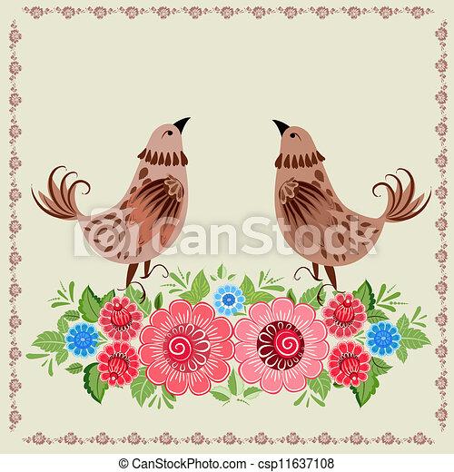 Decorative bird in flowers Khokhloma - csp11637108