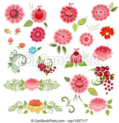 Khokhloma floral set - csp11637117