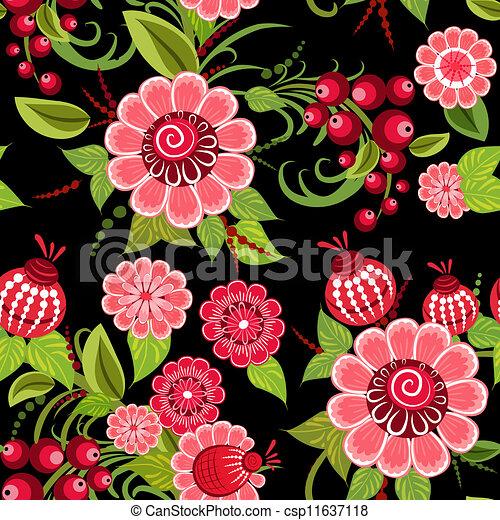 Khokhloma floral seamless - csp11637118