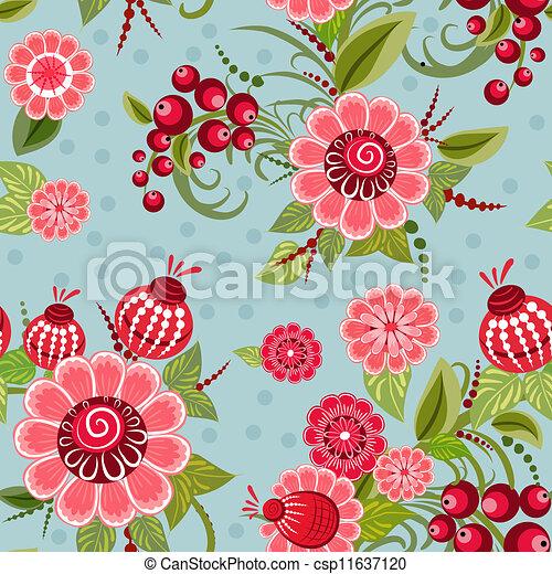 Khokhloma floral seamless - csp11637120