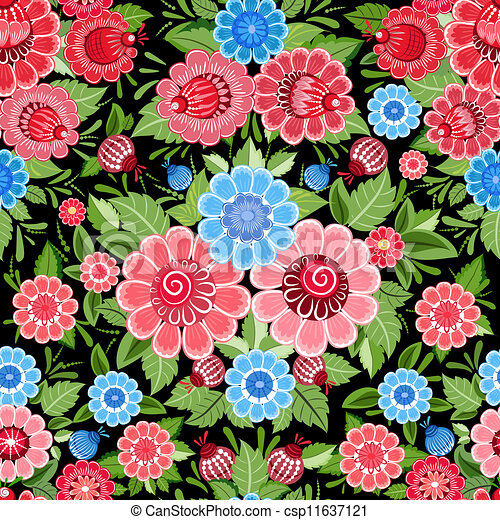 Texture seamless flowers khokhloma - csp11637121