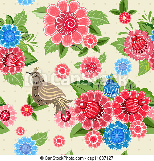 Texture seamless bird and flowers khokhloma - csp11637127