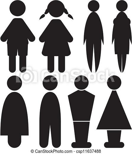 Vecteur de hommes et femme signes toilette noir et blanc csp11 - Toilettes noir et blanc ...