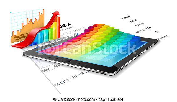 Tablet pc, business summary and charts. - csp11638024