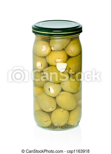 Olives with garlic conserved in glass jar - csp1163918