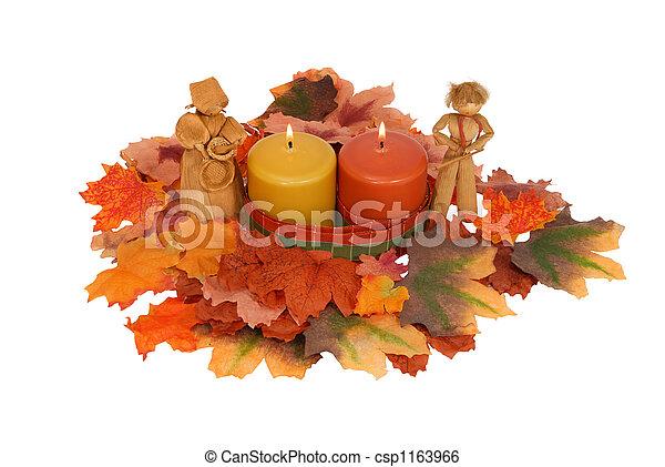 Stockbild Von Herbst Tischgesteck Candles Bl Tter Und