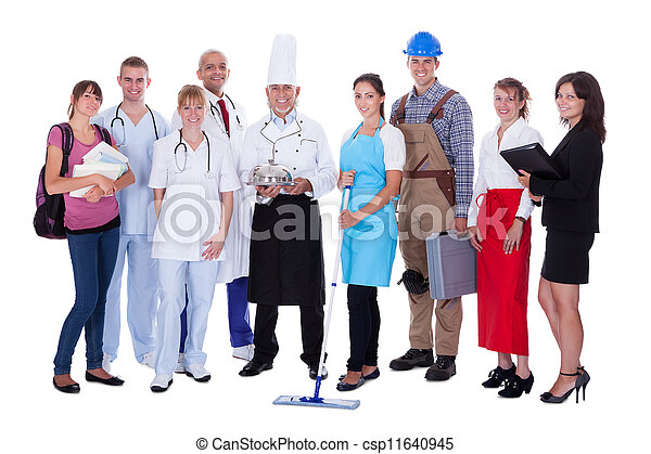 Group of people representing diverse professions - csp11640945