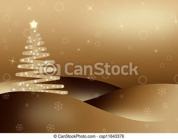 Golden iluminated Christmas background - csp11643376