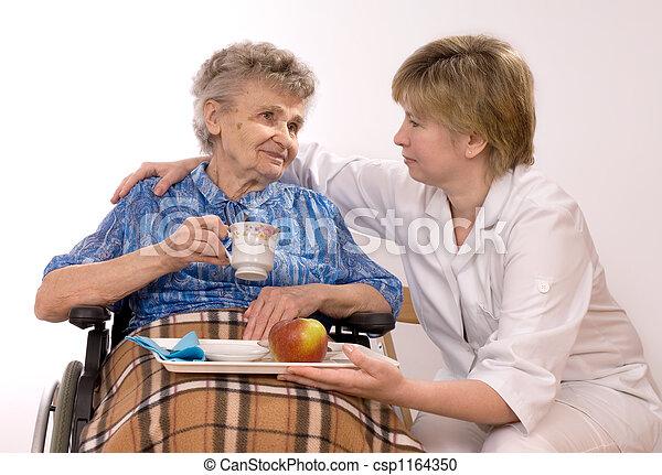 elderly woman in wheelcha - csp1164350