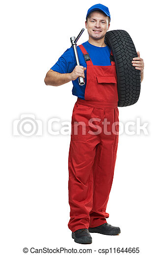 automobile mechanic with car tire and spanner - csp11644665