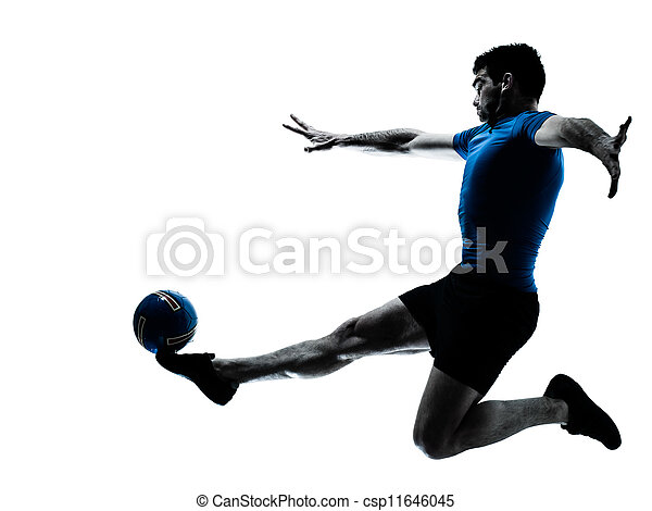 man soccer football player flying kicking - csp11646045