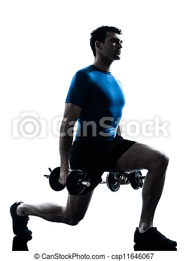 man exercising weight training workout fitness posture - csp11646067